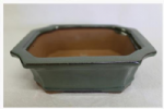 Bonsai Pot, Rectangle (IC), 15cm, Green, Glazed